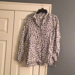 J Jill linen gray and white floral linen shirt